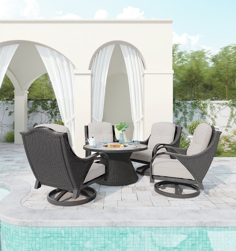 Patio Set with Firepit Incorporated in Table