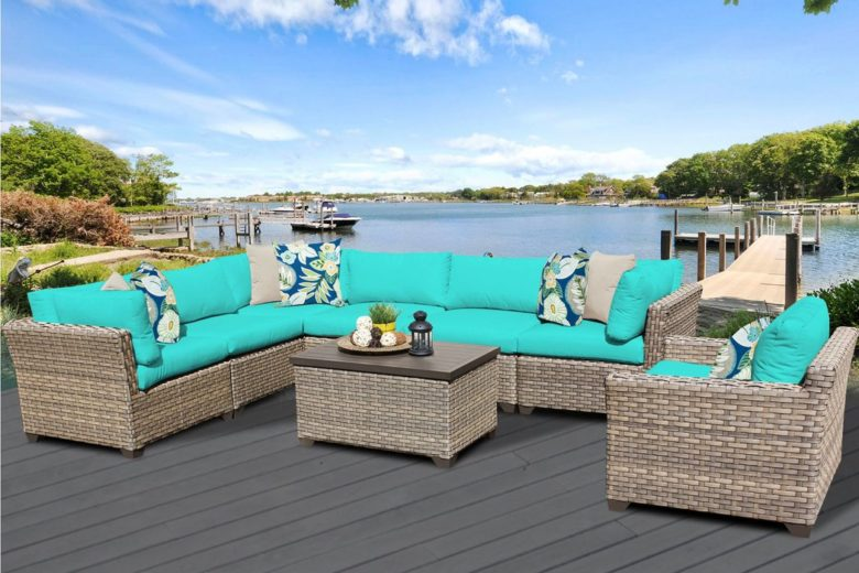 Outdoor Sectional Set with Matching Chair and Ottoman.