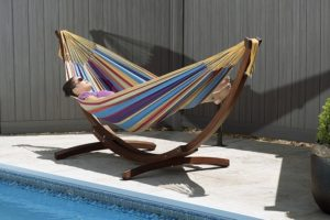 Cotton Hammock with Wooden Base