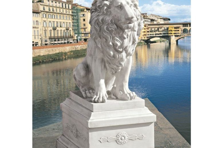 Lion of Florence Sentinel Statue with Base