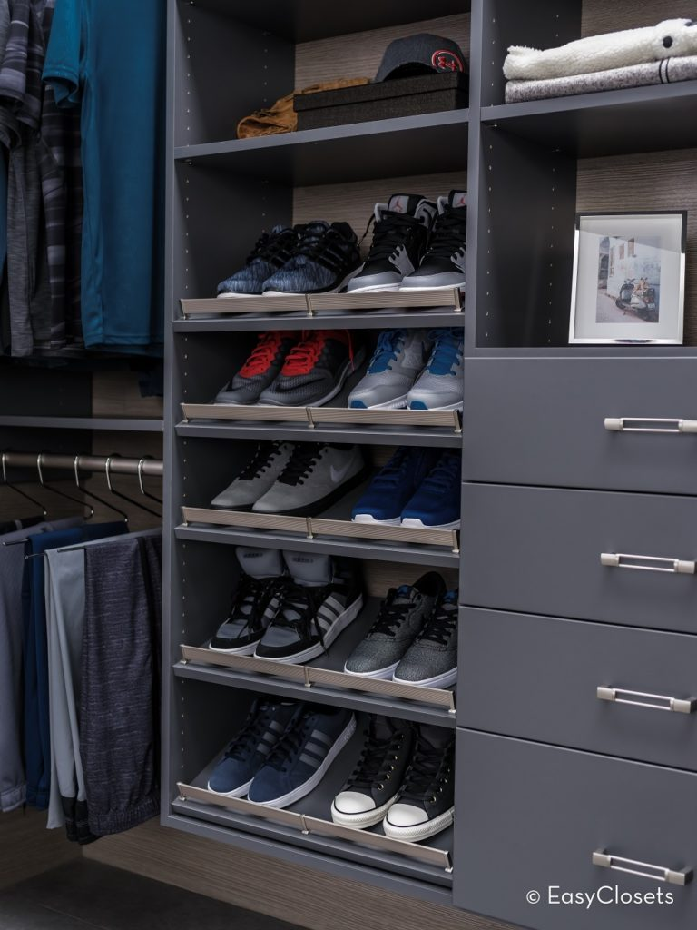 Custom closet with shoe storage