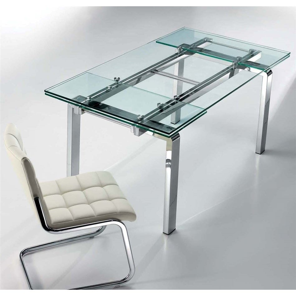 Casabianca Home Glass and Steel Modern Extendable Table