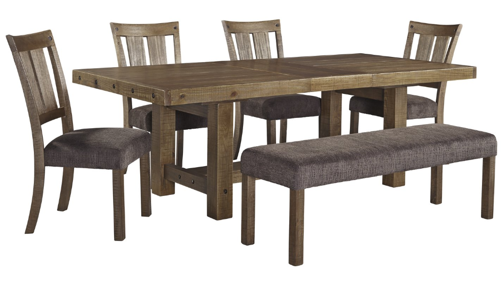 Chunky Butcher Block Center Leaf Extension Dining Table