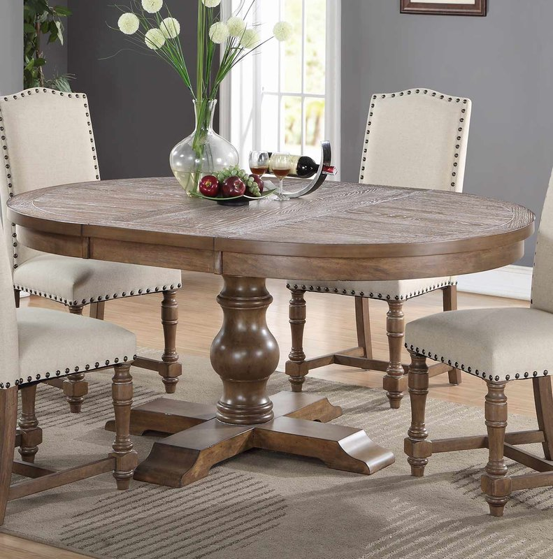 Round Oval Extendable Rustic Dining Table