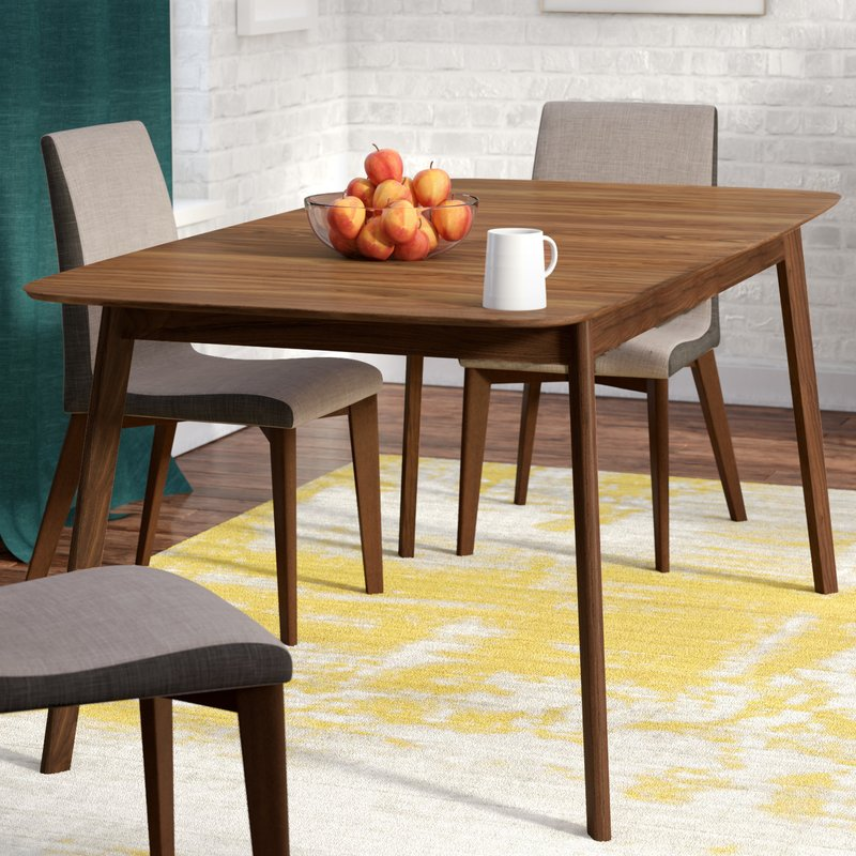 Teak Mid-Century Modern Styled Dining Table with Butterfly Leaf Extension