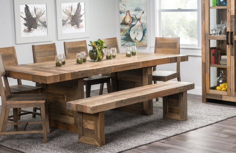 Extendable Butcher block dining table with Chairs and Bench