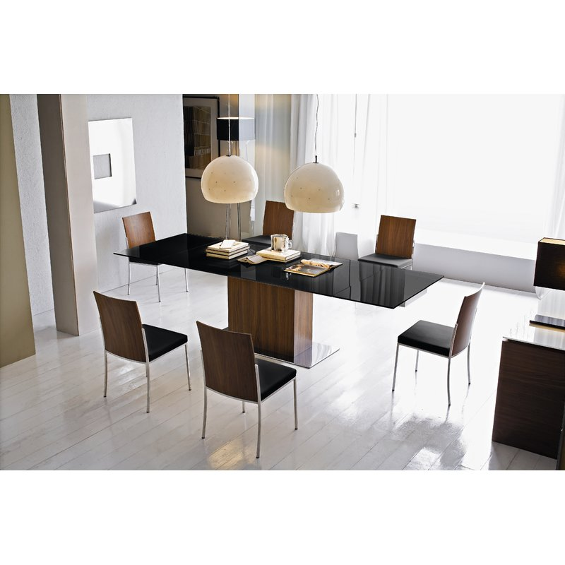 Park Glass Top Extendable Dining Table in Dining Room Extended