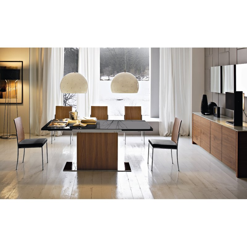 Park Frosted Black Glass Top Extendable Dining Table