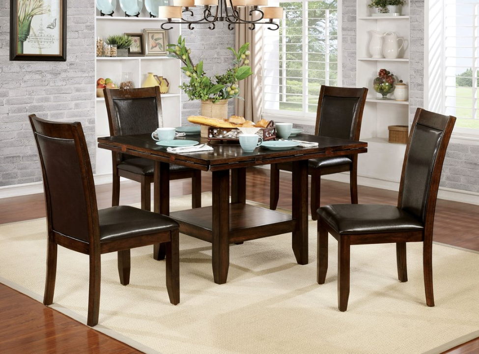 Round drop-leaf rounded dining table