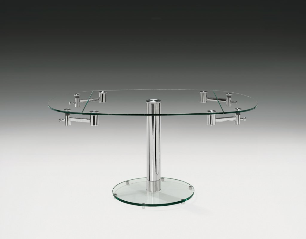 Glass Extendable Folding Leaf Dining Table
