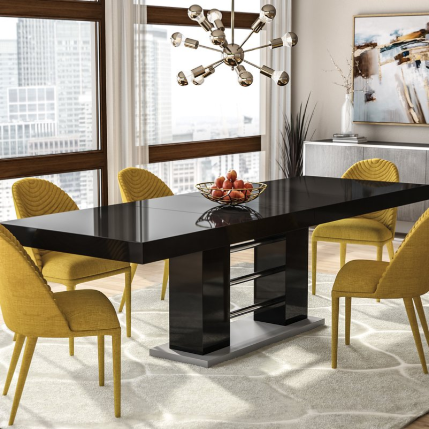 Modern Shiny Black Extendable Dining Room Table