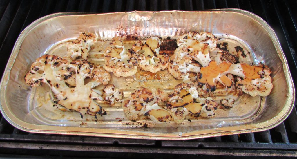 Grilled cauliflower in grill pan