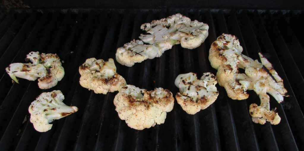 Cauliflower on Barbecue being Grilled
