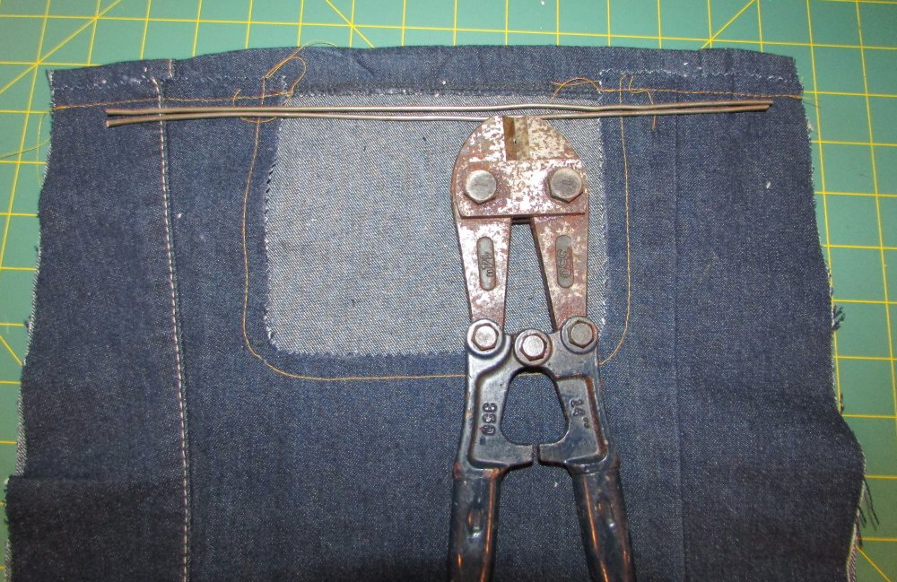 Clothespin Bag in Denim Top Wire Supports