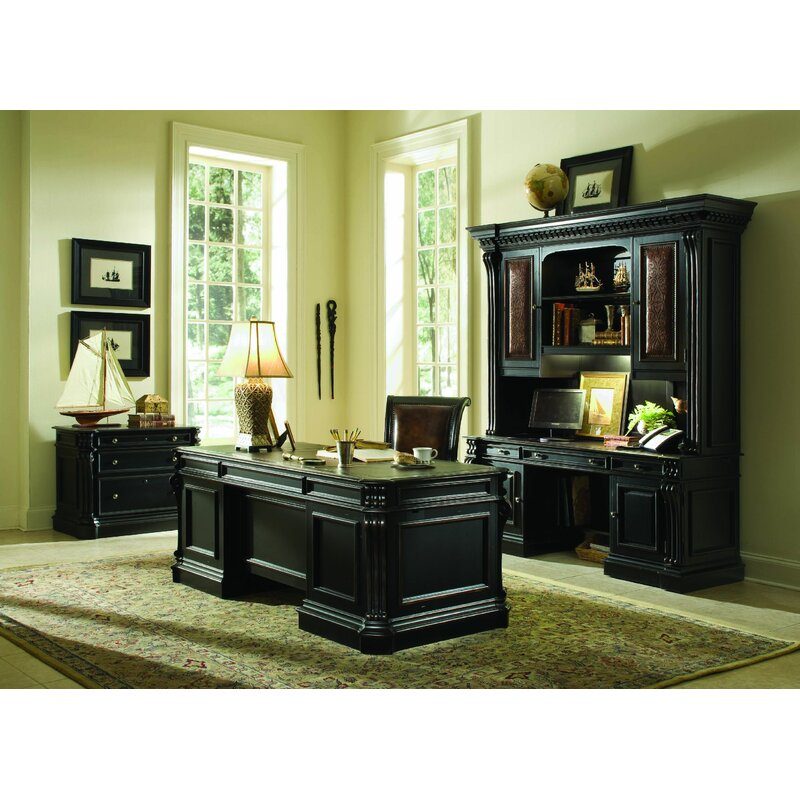 Hooker Furniture Telluride Credenza Desk with Hutch and Large Desk