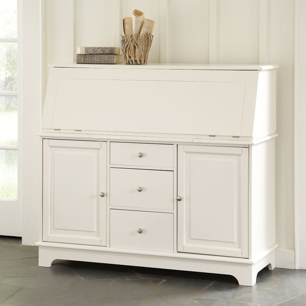 White Secretary Desk with Hutch by Darby Home Co