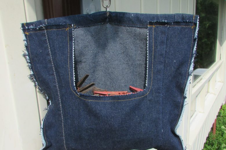 Clothespin Bag in Denim Hanging Outside On Clothesline