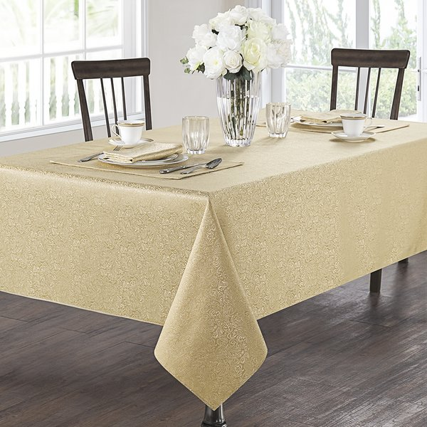Gold Color New Years Eve Party Rectangular Tablecloth