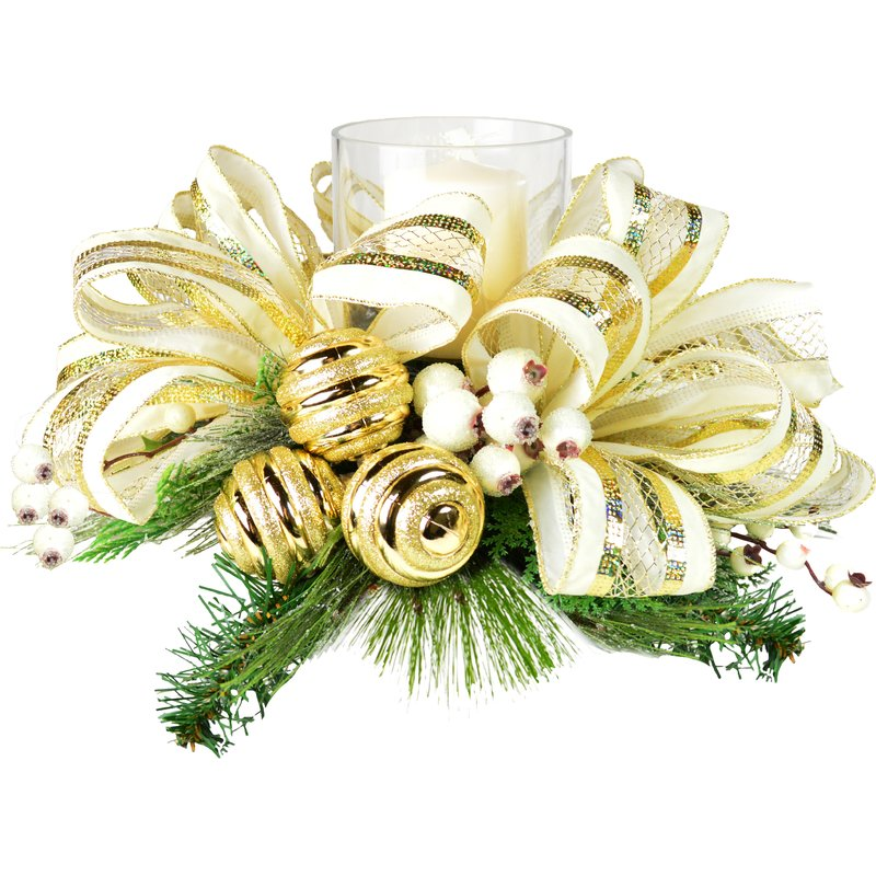 Gold Holiday Centerpiece with Candle