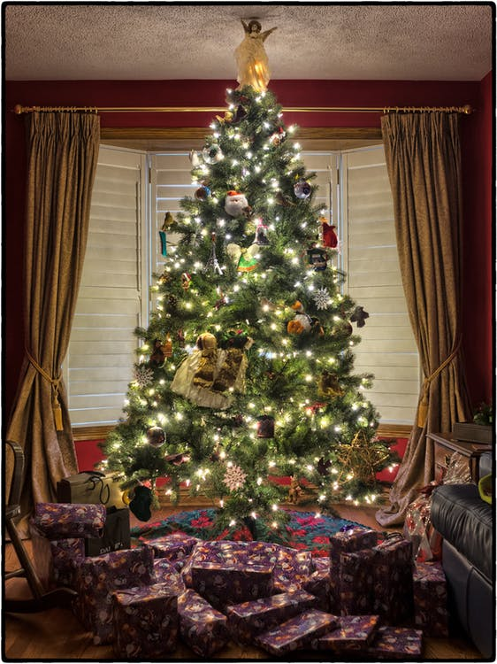 Artificial Christmas Tree with Angel Topper Touching the Ceiling