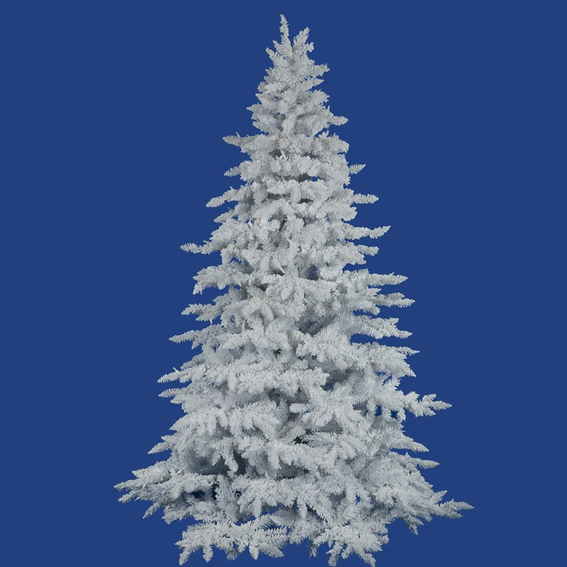 White Flocked 7.5 Foot Spruce Artificial Christmas Tree Unlit with Stand
