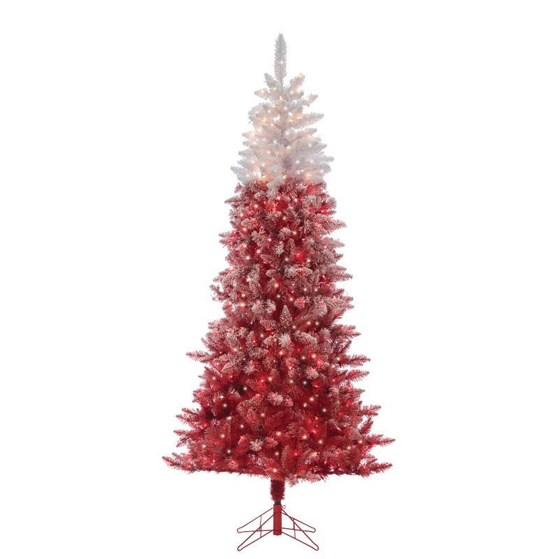 Flocked Red Artificial Christmas Tree Clear White Lights with Stand
