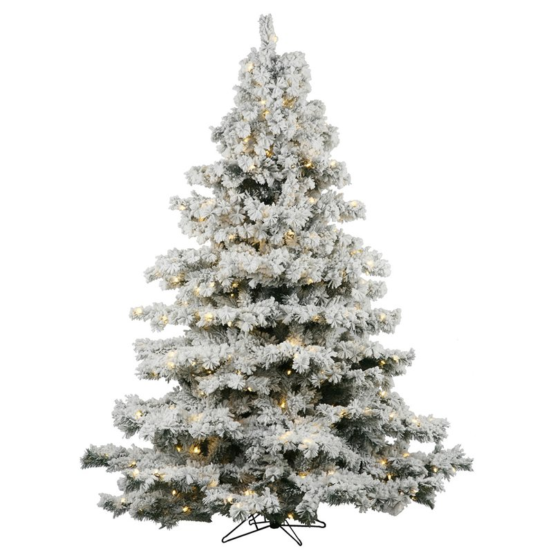 Flocked Alaskan 7.5 Foot White Artificial Christmas Tree with 900 LED White Lights with Stand