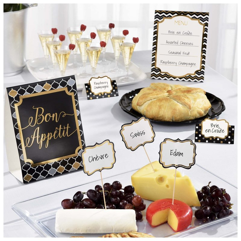 New Years Black and Gold Buffet Decorating Kit