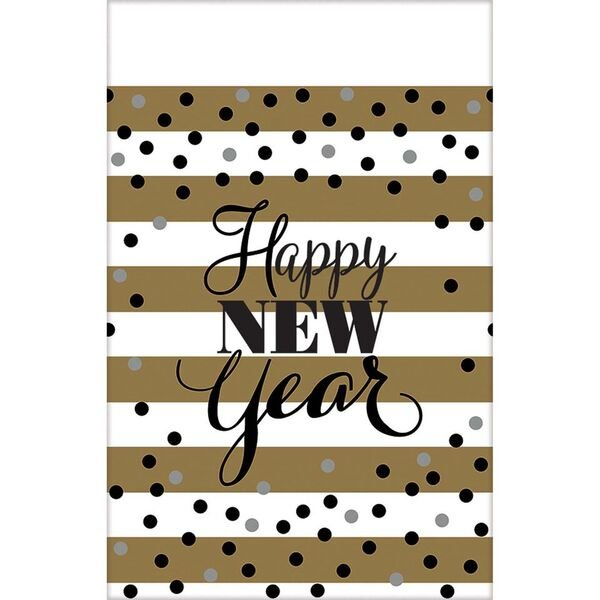 Gold Themed New Years Striped Tablecloth