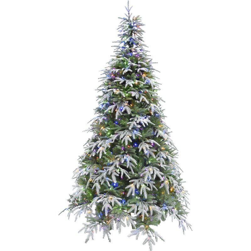 Snow Fir Trees Artificial Christmas Tree with 500 Colored and White LED String Lights with Remote Control