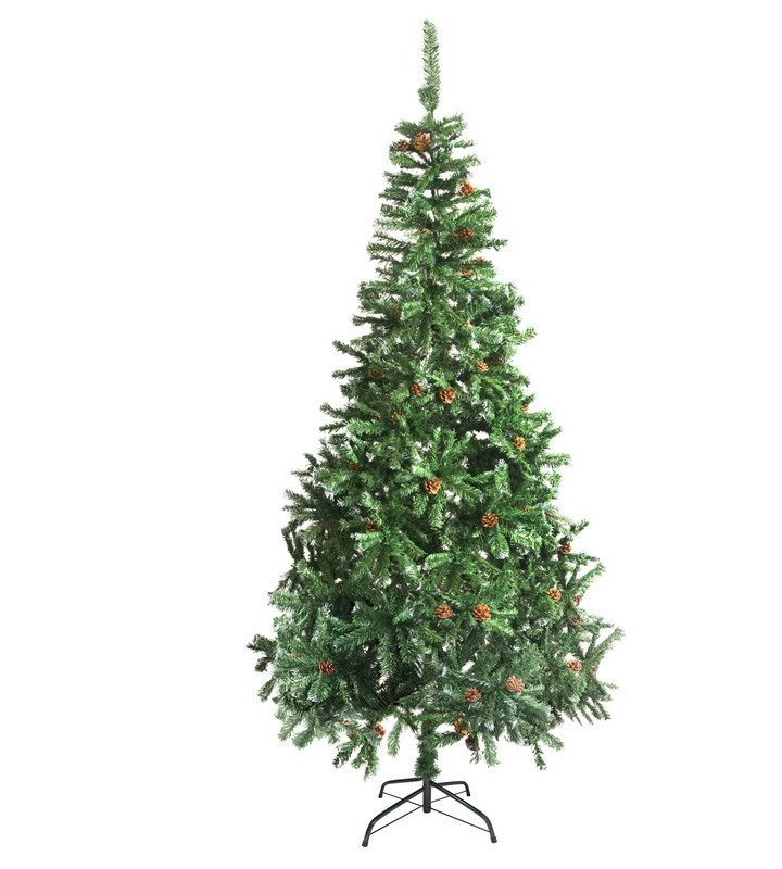 9 Foot Green Pine Artificial Christmas Tree with Pine Cones and Stand