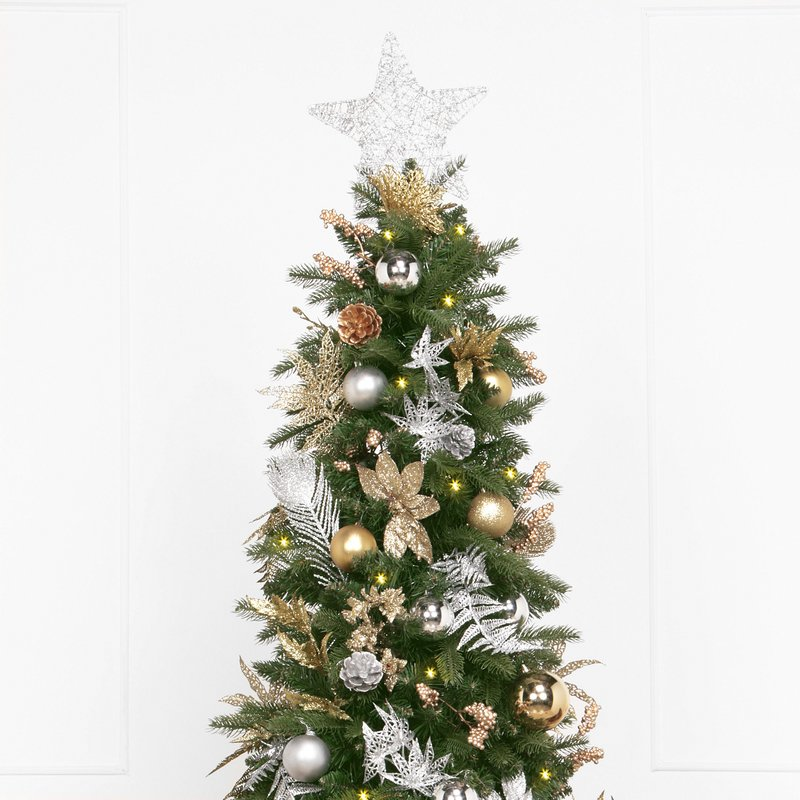 Artificial Christmas Tree with 270 White Lights Close Up