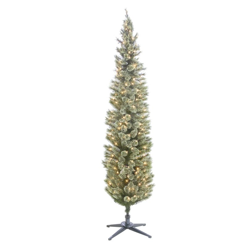 Cashmere Pencil Slim 7 Foot Pine Artificial Christmas Tree with White Lights