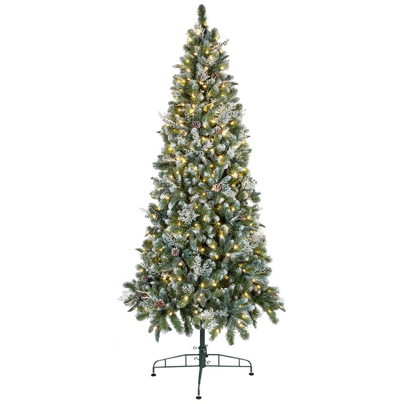 Tall Slender Artificial Christmas Tree with White Lights Warm White