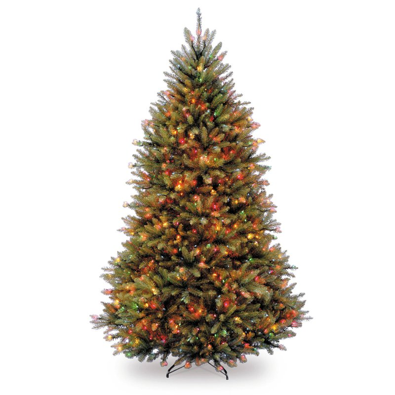 Three Posts Hinged Green Fir Artificial Christmas Tree with Multi Colored Lights