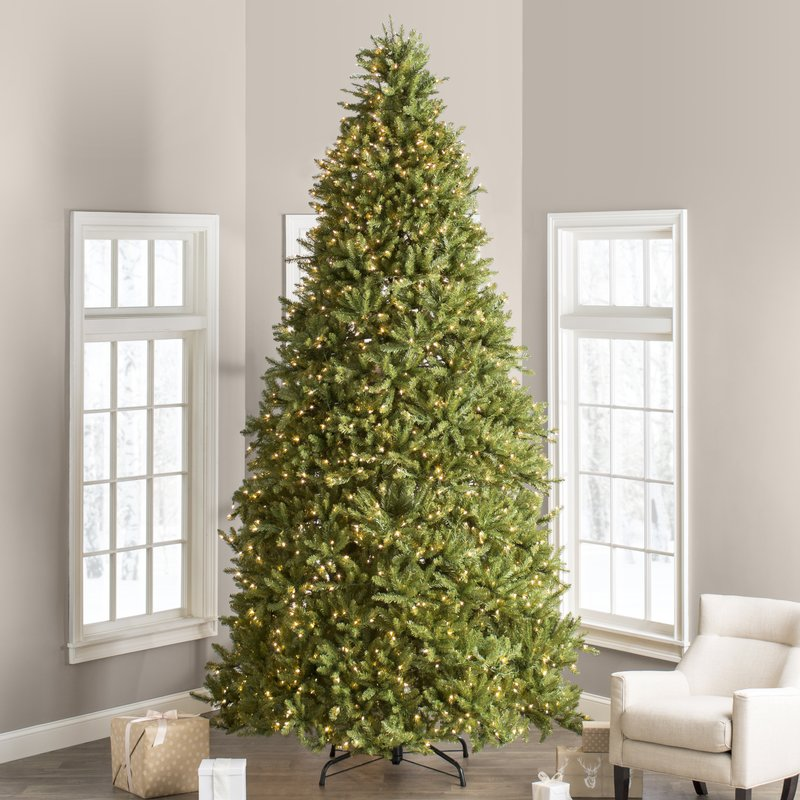 Faux Fir 12 Foot Hinged Green Artificial Christmas Tree with 1500 Clear White Lights