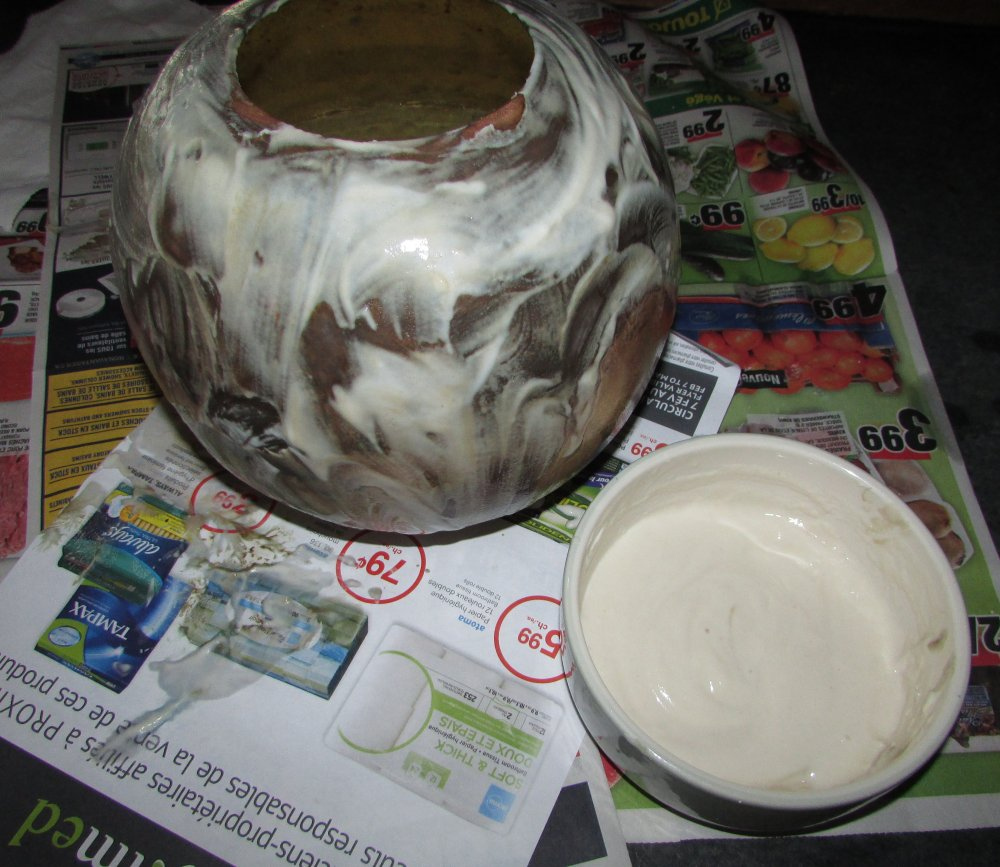Brass Bowl with Natural Cleaner Paste On Top of Newspaper