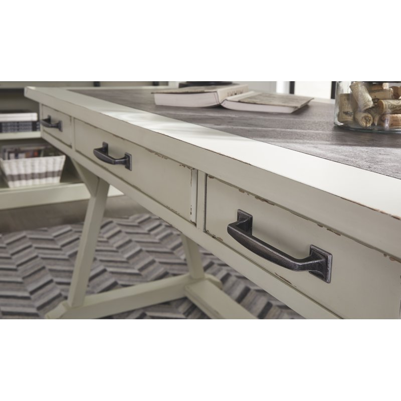 Gracie Oaks Beese Desk Aged Finish on Drawers