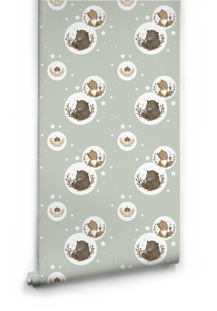 Bear Squirrel Woodland Wallpaper by Muffin Mani for Milton King