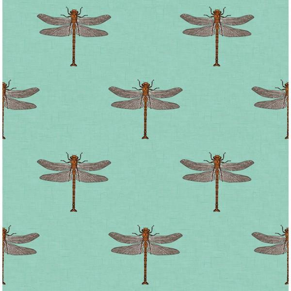 Dragonfly Wallpaper in Aqua and Metallic from the Tortuga Collection by Seabrook Wallcoverings