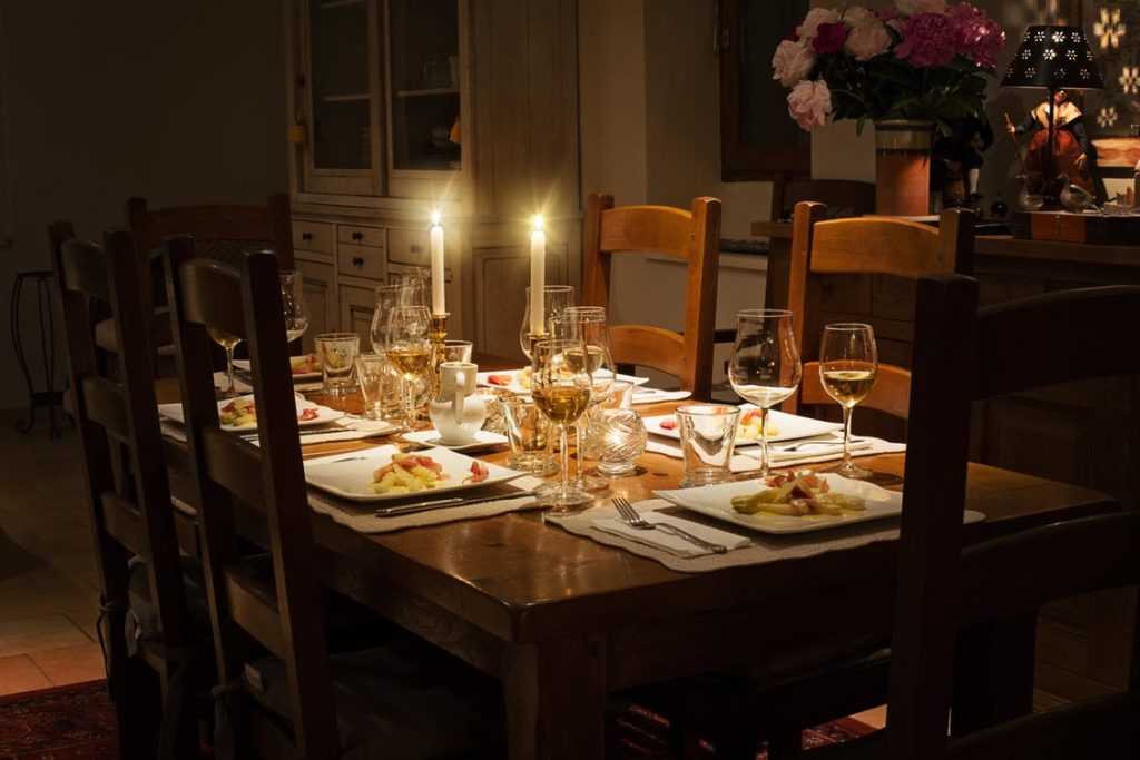 Cozy Dining Table Setting with Candles