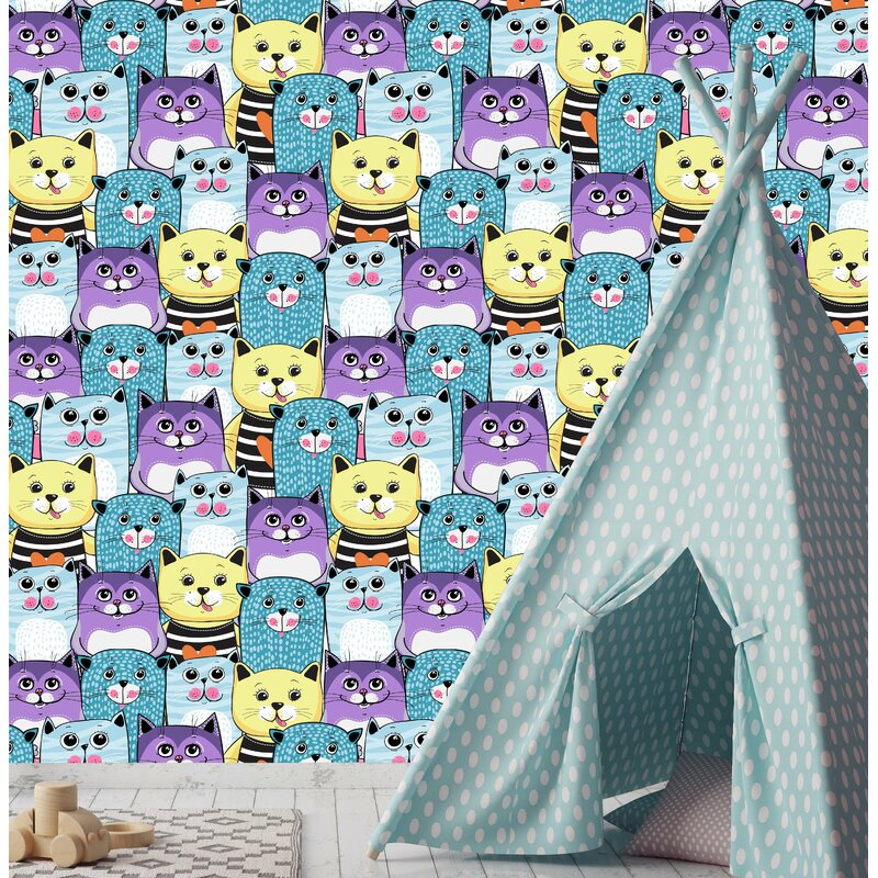 East Urban Home Babb Removable Cute Cats Colorful Nursery Peel and Stick Wallpaper in Bright Colors