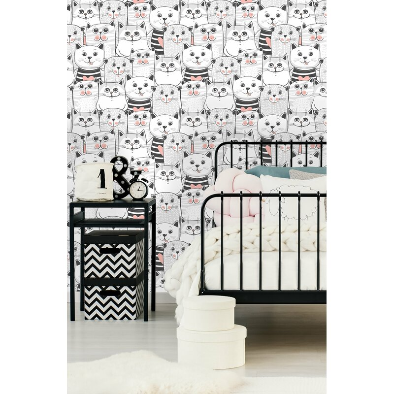 East Urban Home Babb Removable Cute Cats Colorful Nursery Peel and Stick Wallpaper in Kids Bedroom