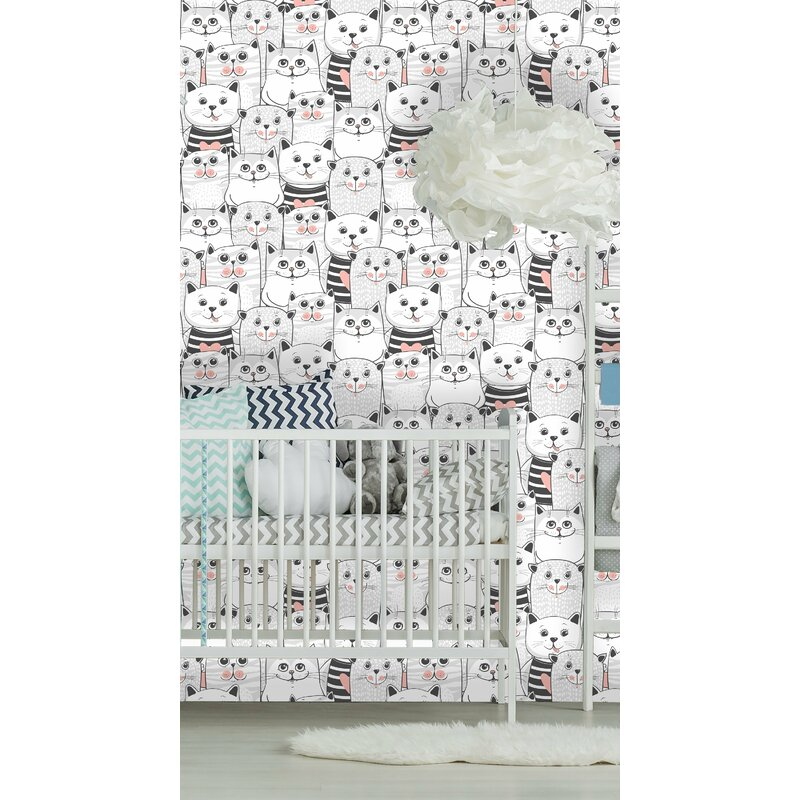 East Urban Home Babb Removable Cute Cats Colorful Nursery Peel and Stick Wallpaper