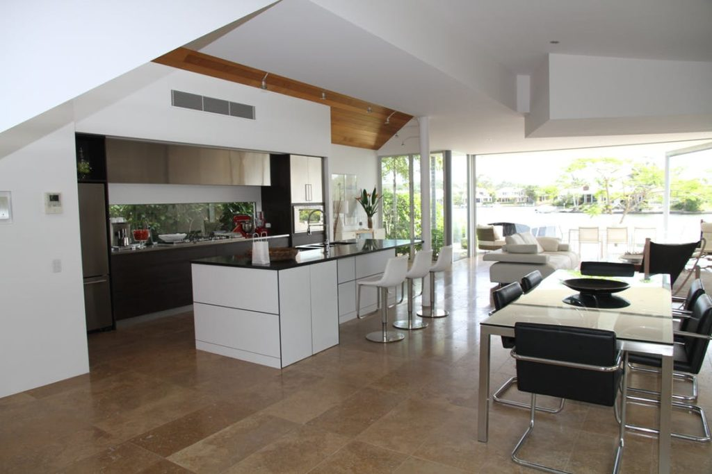 Ultra Modern Open Concept Kitchen with Island Sink