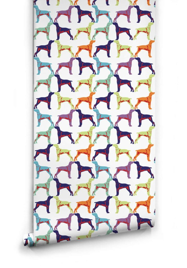 Off the Leash Dog Themed Wallpaper from the Ella Sofia Collection by Milton King