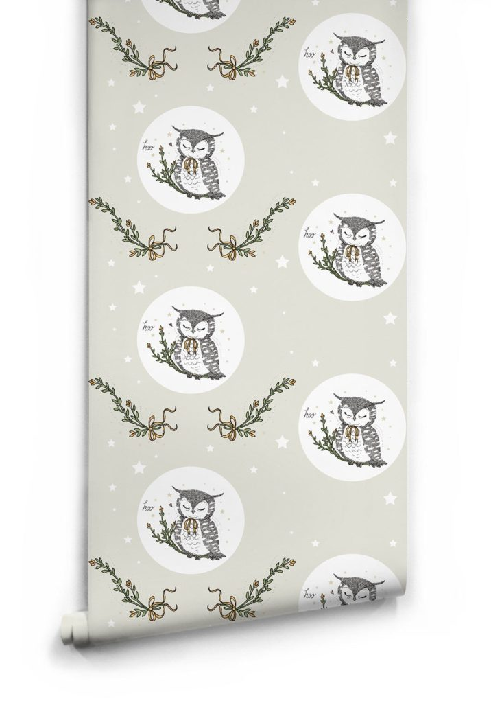 Owl Moon Wallpaper by Muffin Mani for Milton King