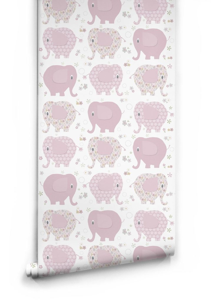 Pink Elephants Wallpaper by Muffin Mani for Milton King
