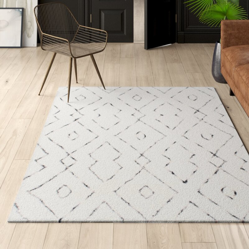 Modern Geometric Peraza Hand Tufted White Area Rug