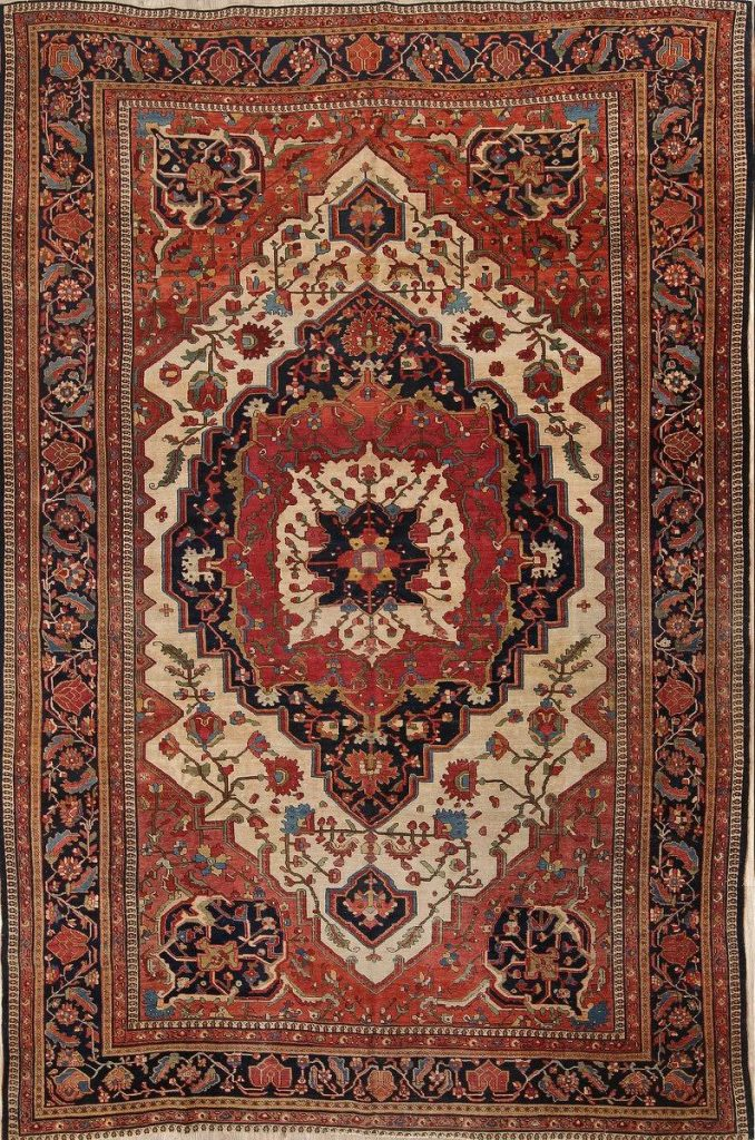 Persian Farahan Sarouk Large Unique Wool Area Rug
